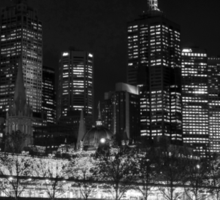 Melbourne by Night BW Sticker