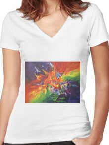 """Explosion"" original artwork by Laura Tozer Women's Fitted V-Neck T-Shirt"
