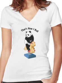 Panda Bear That's How I Roll Women's Fitted V-Neck T-Shirt