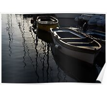 Charming Old Wooden Boats in the Harbor Poster