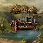 Steampunk - Airship - The original Noah's Ark by Mike  Savad