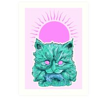 Heartless Kitty Pink Art Print