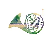 Watercolor French Horn Photographic Print