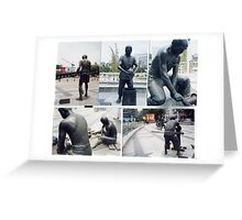 Photographs of bronze statues of Chinese Ceramic pottery workers.  Greeting Card