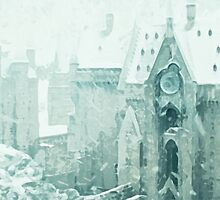 Snowy Clock Tower by Kaleigh Dominguez