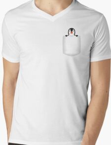 3D Pocket Penguin Mens V-Neck T-Shirt