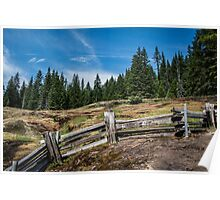 Old Wooden Fence on a Mountain Trail Poster