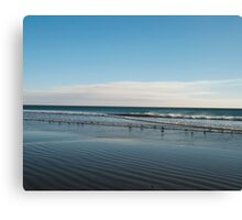 Blue beach ripples landscape photography Canvas Print