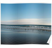 Blue beach ripples landscape photography Poster