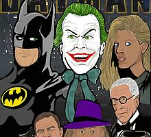 Tim Burton Batman 25th Anniversary collage painting by gjnilespop