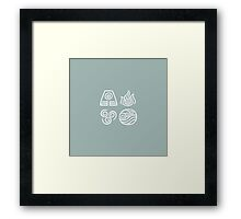Bending All Four Elements - Blue Framed Print