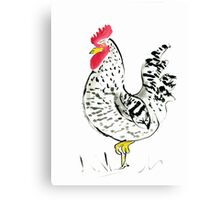 Rooster with his country charm, farm, animal, expressive, illustration Canvas Print