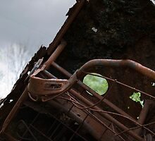 HDR Composite - Dead Car Rusting at Abandoned Farmstead 3 by wetdryvac