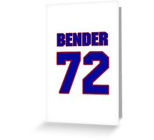 National football player Jacob Bender jersey 72 Greeting Card