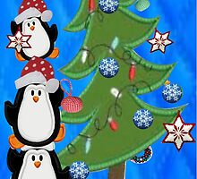 3 Penguins decorating the tree  by Ann12art