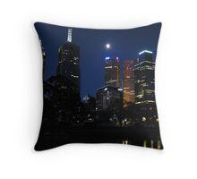 Moonlit city Throw Pillow