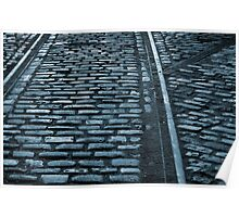 Cobble and tracks - blue Poster