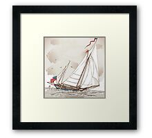 Vintage View of American Yacht in Regatta Framed Print