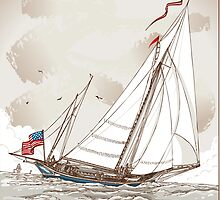 Vintage View of American Yacht in Regatta by aurielaki
