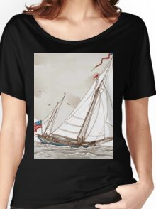 Vintage View of American Yacht in Regatta Women's Relaxed Fit T-Shirt