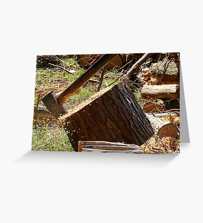 Flying Sawdust! - Chopping Wood - NZ Greeting Card