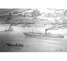 My Pencil Drawing of a Paddle Steamer on the Danube Photographic Print