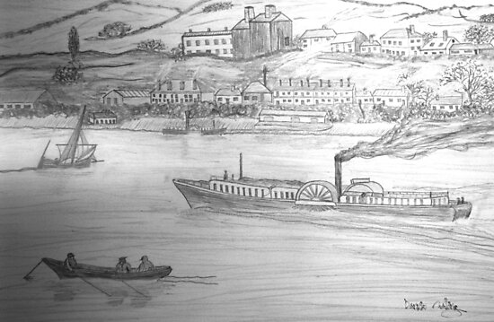 My Pencil Drawing of a Paddle Steamer on the Danube by Dennis Melling