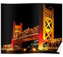 Tower Bridge raised (Sacramento, California USA) Poster