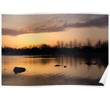Gloaming - Subtle Pink, Lavender and Orange at the Lake Poster