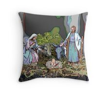 Christmas crib Throw Pillow