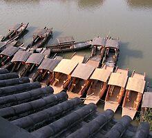 Chinese boats on a ZhuJiaJiao canal by Julien Bertrand