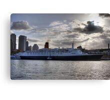 QE II - Leaving Sydney Harbour Canvas Print