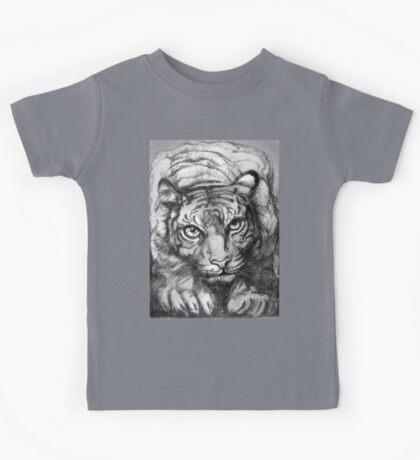 Tiger - greyscale (full T) Kids Tee