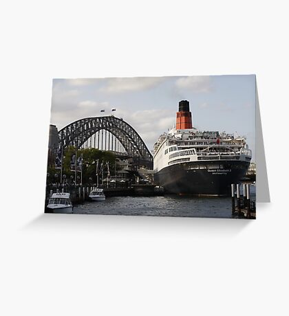 QE II - Leaving Sydney Harbour II Greeting Card