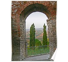 Cypress trees and arch in Todi, Italy Poster