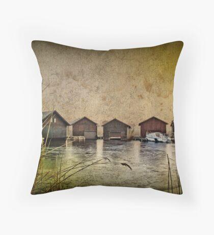 Huts at the lake Throw Pillow