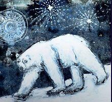 Polar bear under starry skies by BellaBees