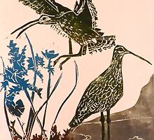 Curlews - lino cut print by BellaBees