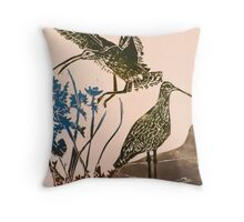 Curlews - lino cut print Throw Pillow