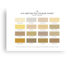 H.M. British Tea Colour Chart Canvas Print