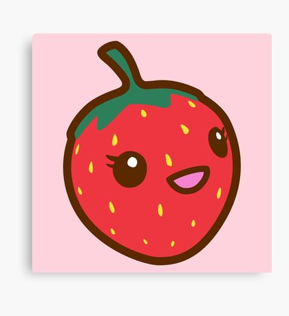 Kawaii Strawberry Canvas Print