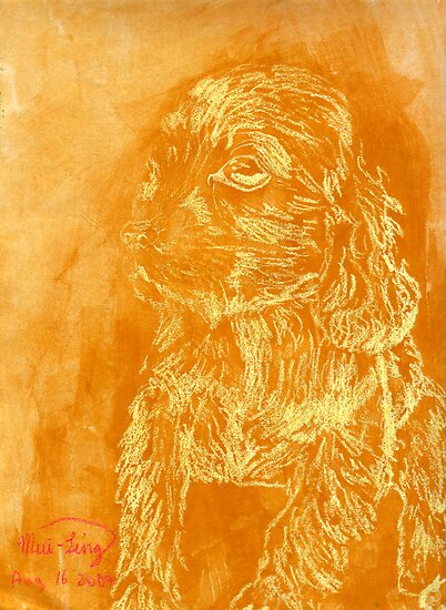 """Golden Puppy"" (monochromatic hue series) by Mui-Ling Teh"