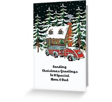 Mom And Dad Sending Christmas Greetings Card Greeting Card