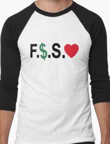 Fuck Money Spread Love [Black] Men's Baseball ¾ T-Shirt