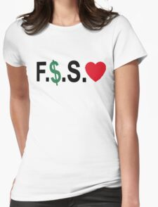 Fuck Money Spread Love [Black] Womens Fitted T-Shirt