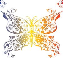 Abstract multicolored butterfly 2 by AnnArtshock