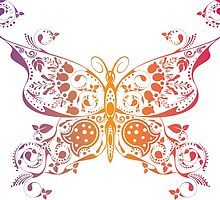 Abstract multicolored butterfly 3 by AnnArtshock