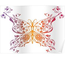 Abstract multicolored butterfly 3 Poster