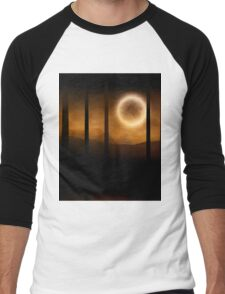 Dark forest in orange mist and full moon Men's Baseball ¾ T-Shirt
