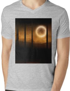 Dark forest in orange mist and full moon Mens V-Neck T-Shirt